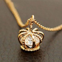 Fashion Crown Zircon Clavicle Chain Necklace XL0001 from lovely girls