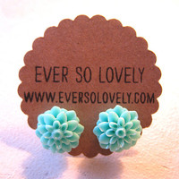 pale seafoam mint green flower post earrings - summer garden wedding