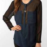 UrbanOutfitters.com &gt; Silence &amp; Noise Chiffon-Trimmed Tunic