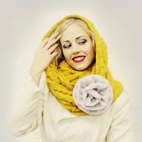 Yellow Infinity Scarf with Gray Flower Pin READY by mojospastyle