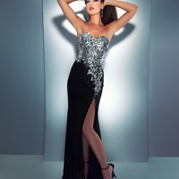 Mac Duggal Prom 2013 - Strapless Black & Silver Sequin & Rhinestone Dress - Unique Vintage - Cocktail, Pinup, Holiday & Prom Dresses.