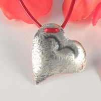 Heart Necklace, Valentine's Day Gift, Flowers Heart Sterling Silver Necklace, Flowers and Leaves Silver Heart Pendant on Red Leather Cord