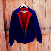 totally 80s Izod blue corduroy jacket.  size L. blue corduroy, red fleece lining warm. preppy jacket. unisex