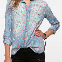 BDG Floral Printed Chambray Button-Down Shirt