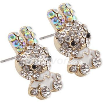 Lovely Rhinestone Studded Rabbit Stud Earrings