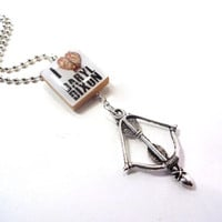 I Love Daryl Dixon - Zombie Ear - Zombie - Scrabble Tile Necklace with Crossbow Charm - Walking Dead - Living Dead - Undead