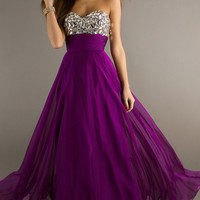 Floor Length Strapless Sequin Embellished Dress