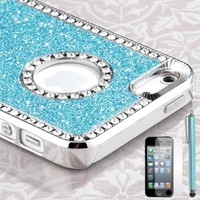 Amazon.com: Pandamimi iphone 5 case - Deluxe Light Blue Diamond Rhinestone Glitter Bling Chrome Hard Case Cover for Apple iPhone 5 5G Screen Protector and Stylus: Cell Phones &amp; Accessories