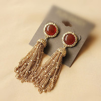 Vintage royal natural red agate gold plated earring