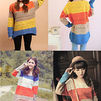 New Womens Round Neck Pullover Jumper Casual Loose Top Knitwear Sweater Cardigan