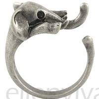 Enhanced Cute Elephant Animal Wrap Ring Sizes 5-9 Vintage Silver Tone rg006sv