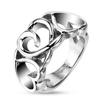 3-hearts stainless steel ring