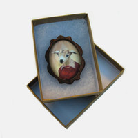 Billy Goat Portrait Brooch - Handcrafted Walnut Wood Frame