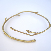 $65.00 SALE // Recycled Branch Bracelet Bud Brass by a1000kisses