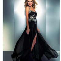 Mac Duggal Prom 2013- Black Gown With Embellishments - Unique Vintage - Cocktail, Pinup, Holiday & Prom Dresses.