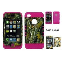 Amazon.com: BUMPER CASE FOR IPHONE 4 SOFT HOT PINK SKIN HARD FOREST CAMO BIG BRANCH COVER: Cell Phones & Accessories