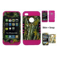 Amazon.com: BUMPER CASE FOR IPHONE 4 SOFT HOT PINK SKIN HARD FOREST CAMO BIG BRANCH COVER: Cell Phones &amp; Accessories
