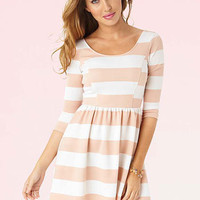 Melonie Stripe Fit-And-Flare Dress