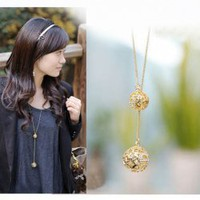 Corean Style High Quality Golden Hollow Ball Shape Long Pattern Necklace China Wholesale - Sammydress.com