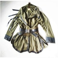 Urban Samurai Coat / Wearable Art Military Khaki by lummedesigns