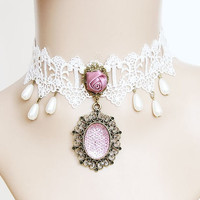 Handmade vintage queen white lace pink rose necklace adjustable victorian style