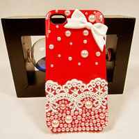 iphone 4s case, iphone 4 case - handmade bowknot lace iphone 4 cover case