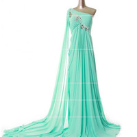 A-line One-shoulder Sleeveless Court Train Chiffon Bridesmaid Dress With Rhinestone Free Shipping
