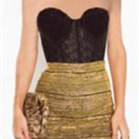 Gold body-con skirt- Mini Skirts- Wow Couture- &amp;#36;39.99