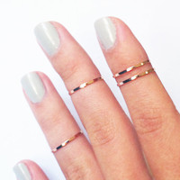 4 Above the Knuckle Rings - rose gold thin shiny bands - set of 4 stack midi rings