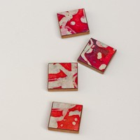 Magnets Handmade Paper Red Batik on Luulla