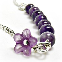 Amethyst Bar Necklace W/ Flower-Ame.. on Luulla