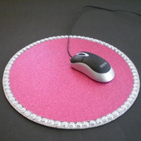 HOT PINK GLITTER & Bling Mousepad - sparkling pink color w/ clear rhinestones