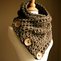 NOTE Shipping Times - The Original BOSTON HARBOR Scarf  - Warm, soft & stylish scarf with 3 large coconut buttons - Taupe