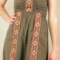 Embroidered Green Tribal Stripe Dress - Nectar Clothing