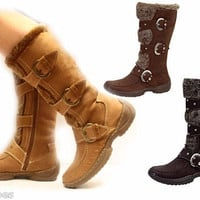 Women's Winter Comfort Flat Heel Mid Calf Knee High Buckle Zipper Boot Shoes NEW