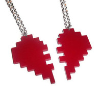 Best Friend Necklaces, Friendship Pixel Heart, Gaming, Red Laser Cut Pendants