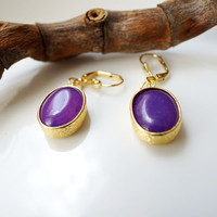 Purple Jade Oval Earrings