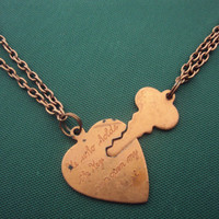 Vintage Heart and Key Copper Necklace - He who holds the key..