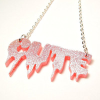 Spooky Cute Necklace Pastel Goth Pink Glitter by blacktulipshop