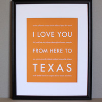 I Love You From Here To Texas, Travel Art Print | Luulla