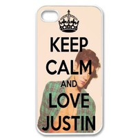 Amazon.com: Apple Iphone 4 4g 4s Keep Calm and Love Justin Bieber Retro Vintage White Sides Case Skin Cover Protector Accessory: Cell Phones & Accessories