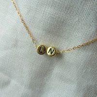 Tiny gold 2   letters necklace - Gold   initial necklace in  your choice