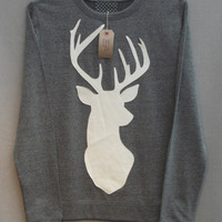 Leather Stag Deer Jumper Women&#x27;s Grey Heather Lightweight Crew Neck Sweatshirt
