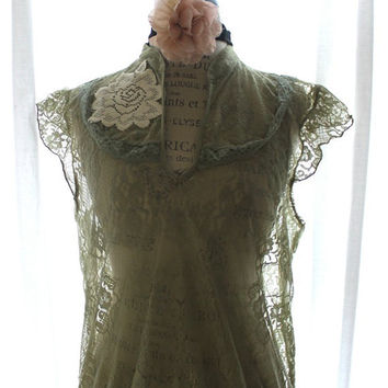 Romantic Lace Top Shabby Moss Green From True Rebel Clothing