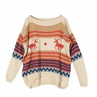 Deer Print sweater in Cream