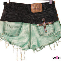 ONLY SIX AVAILABLE Black to Mint Ombre Shorts with Cross on Back Pocket