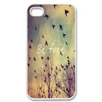 Amazon.com: Apple iPhone 4 4G 4S Be Free Birds Cute Quote Retro Vintage WHITE Sides Slim HARD Case Skin Cover Protector Accessory Vintage Retro Unique AT&amp;T Sprint Verizon Virgin Mobile: Cell Phones &amp; Accessories