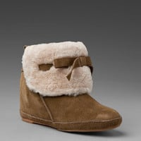 8022 Bee Suede Shearling Bootie in Cocoa at Revolve Clothing