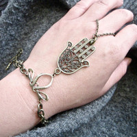 Hand Of Fatima bracelet ring - Gold plated Hamsa
