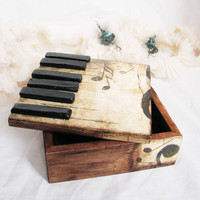 French Roast  Rustic vintage style romantic piano little music style box with black keys and rusty solo-key, gift for her
